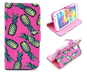 Galaxy S5 Case, Pineapple Hawaii Style Credit ID Card Slot Holder Wallet Flip Phone Case With Stand --Retail Package W Screen Protector --Pink