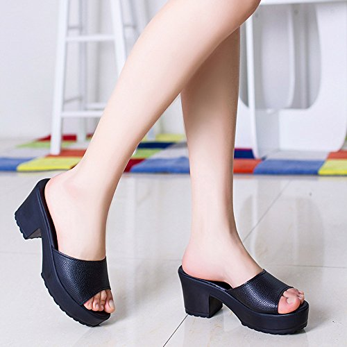 Cute Summer Sandals Women for Ladies Flop Women Flop Holiday Platform Soft Black Flip Sandals Sexy High Beach Wedges Sandals Leather Flip Fashion Heel Casual Shoes WINWINTOM g8SwqY5w