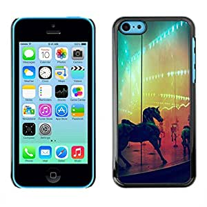 LASTONE PHONE CASE / Carcasa Funda Prima Delgada SLIM Casa Carcasa Funda Case Bandera Cover Armor Shell para Apple Iphone 5C / Horse Rainbow Fair Country Ride