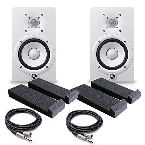 Pro Series Powered Subwoofer - Yamaha HS5 W 5-Inch Powered Studio Monitor, White (Pair) - Free Monitor PAD (2) XLR to 1/4 Cables 20ft ea