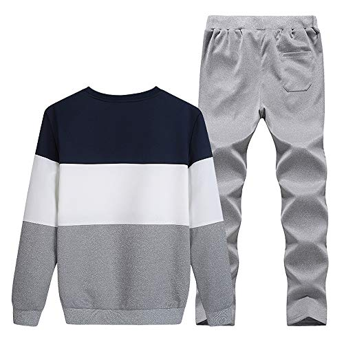 - Sunhusing Men's Winter Round Neck Splicing Long Sleeve Pants Set Baseball Uniform Sports Suit