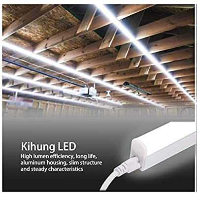 Kihung T5 Led Integrated Fixture 4FT, Utility Shop Light Tube, Garage Light, 20W, 6500K, 2200Lm, LED Ceiling Light and Under Cabinet Light, Plug and Play Corded Electric,12-Pack