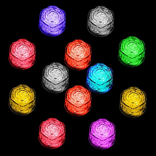 Simulation Ice Cube - 12pcs Plastic Multi-Color Luminous Ice Cube with Colorful Light for Halloween Party Wedding Club Bar Champagne Tower Decoration (12PCS) -