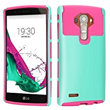 LG G4 Case, iMusi 2IN1 Shockproof Dual Layered Protective Cover Case Skin for LG G4 - Mint Green/Rose Red
