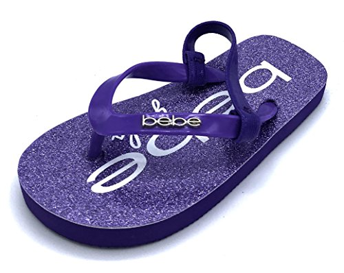 bebe Toddler Girls EVA Flip Flops with Embellishment and Glitter Footbed, Lilac, 8