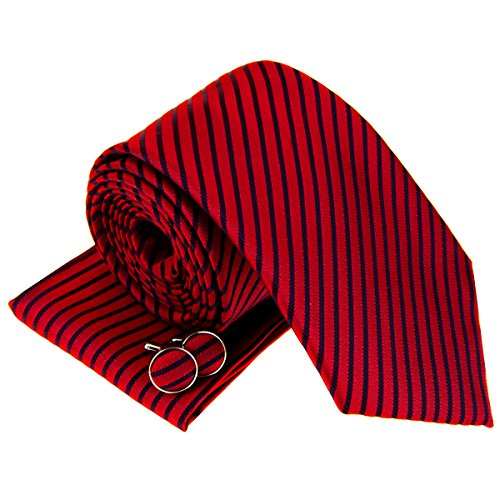 Retreez Modern Stripe Woven Men's Tie Necktie with matching Pocket Square and Cufflinks, Gift Box Set as Christmas Gift, Birthday Gift - Red with Navy Blue Stripe