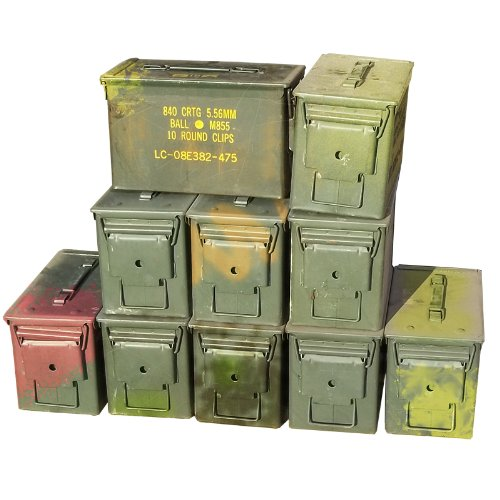 U.S. Military M2A1 50 Cal Ammo Cans (10 Pack) 50 Cal Ammo Types