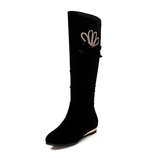 Womens Flatform Heighten Inside Pull-On Knee-High Beaded Suede Boots ABL09769
