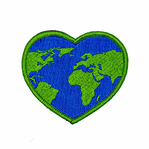 - World Heart 100% Embroidered Outdoors Patch - Great for Kids and Outdoor Explorers - Hook Backed, Iron or Sew On (Iron-On)