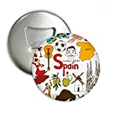 Spain Landscap Animals National Flag Round Bottle Opener Refrigerator Magnet Pins Badge Button Gift 3pcs
