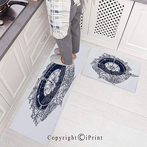 2 Pieces Microfiber Non-Slip Soft Kitchen Mat Bath Rug,Antique Marine Compass and Floral Whale Figure Mystical Victorian Vintage Decorative Doormat Runner Carpet Set, 15.7