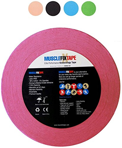 Pink MUSCLE FIX Bulk Clinical Kinesiology Recovery Injury Therapeutic Support Tape Un-cut PRO FP Economical Jumbo Size Sports Big Roll for Shoulder Knee Arm Shin Splint Achilles Heel Calf