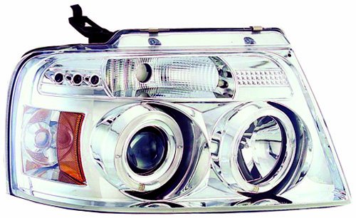 IPCW CWS-538C2 Ford F150/F250 LD Chrome Projector Head Lamp with Rings - Pair