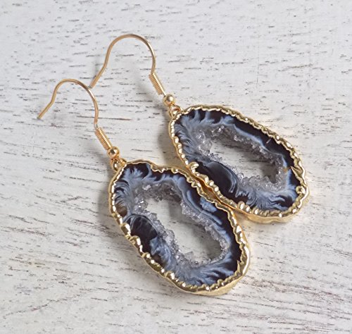 - Natural Sliced Geode Earrings Druzy Gemstone Dangle Drop Boho Jewelry Gray