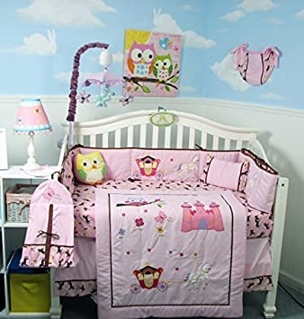 SoHo New Princess Story Baby Crib Nursery Bedding Set 13 pcs included Diaper Bag with Changing Pad & Bottle Case