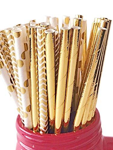 150 ct. Gold Paper Straws Mix Foil Polka Dot Chevron Cake Pop Sticks Variety (Gold Cake Pop Sticks)