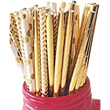 150 ct. Gold Paper Straws Mix Foil Polka Dot Chevron Cake Pop Sticks Variety Pack