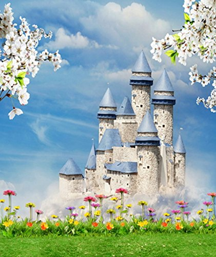 8 x 10 ft Cinderella Castle Backdrop Fairy Tale Theme Backdrops with Green Grass and Colorful Flowers Girls Birthday Party Background for Photo Studio Outdoor