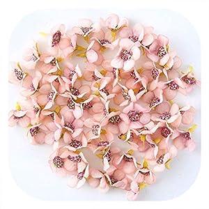 50/100Pcs 2cm Mini Silk Artificial Flower Daisy Flower Head for Wedding Home Decoration DIY Craft Wreath Gift Scrapbooking,Pink,50pcs 99