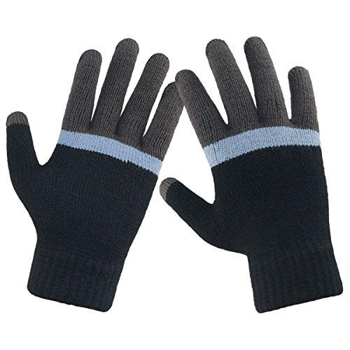 LETHMIK Mens Mix Knit Gloves Winter Touch Screen Texting Magic Glove with Warm Wool Lining Black & Grey (Mix Wool Stripe)