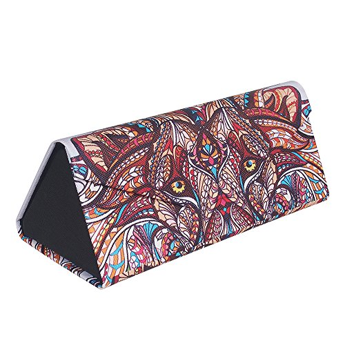 Eyeglass Case - Lion Soft PU Leather Foldable Eyeglasses & Sunglass Carring Case for Men & Women, Inside velvet, Magnetic Buckle, with Clean Cloth