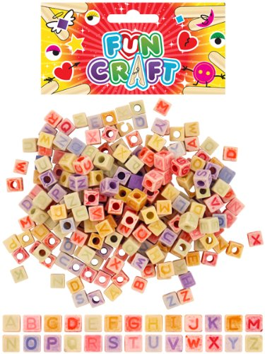 CRAFT KIT BEADS ALPHABET CUBES 35G ASTD COLS LOOMS