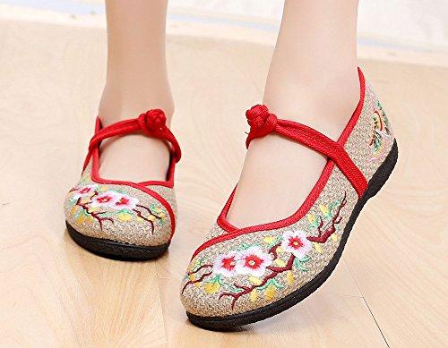 Avacostume Femmes Bout Rond Lin Fleur De Prune Broderie Boucle Chaussures Plates Beige
