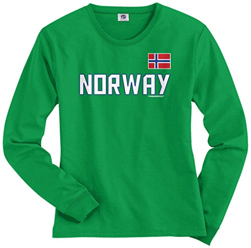 Threadrock Women's Norway National Pride Long Sleeve T-shirt XL Kelly Green (Long Sleeve Womens Pride)