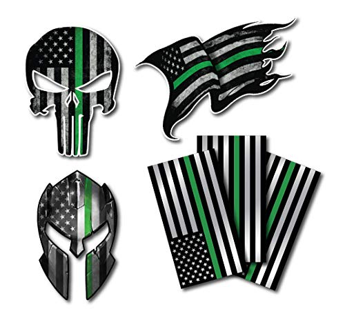 Variety Pack of Thin Green Line I Support The Military Decal Sticker American Flag Car Truck(6 Pack)