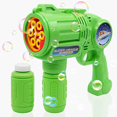 Ultimate Bubble Gun Bubble Blaster - Green Crefun SB9313 Light Up Bubble Blower Safe Durable Simple Handheld Bubble Machine Bubble Toys for Kid Party Favor Birthday Wedding Including 2 Bubble Solution