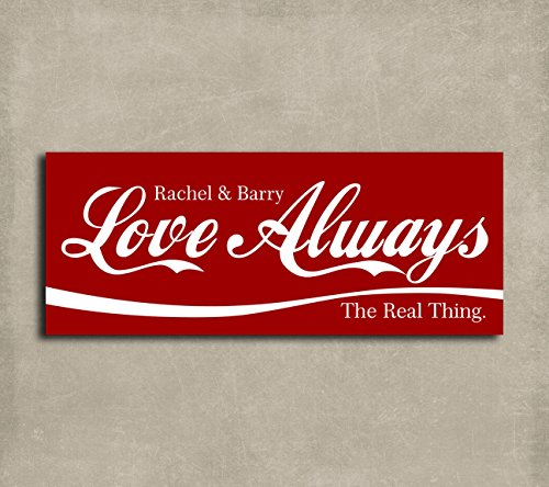 Personalized Tin Signs - 4x10 Personalized The Real Thing Cola Sign Love Always Tin Sign Gift For Valentine's Day Girlfriend Anniversary Custom Metal Art Print #1427