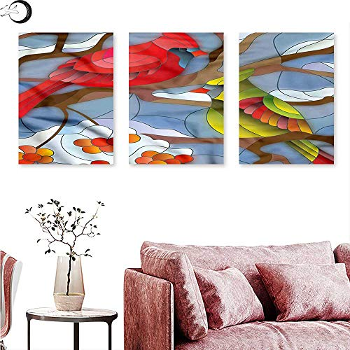 - J Chief Sky Cardinal Wall Art Oil Paintings Stained Glass Style Birds Triptych Wall Art W 12