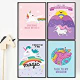 Pillow & Toast Unicorn Rainbow Wall Art: Set of FOUR 11 x 17'' Posters for Girls Bedroom, Teens GOOD VIBES to Decorate Room - 4-Pack, Girly Magical Unicorns.