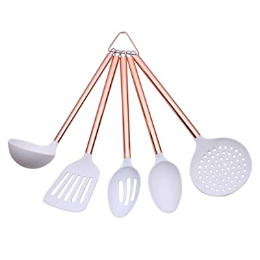 COOK with COLOR 5 Piece White Nylon Cooking Utensil Set on a Ring with Rose Gold Copper Handles