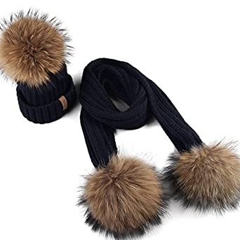 24a4468073cf2 Elvy FURTALK Kids Ages 2-10 Winter Warm Chunky Thick Knit Beanie Hats and Scarves  Real Fur Pom Pom Hat Scarf Set for Child  Amazon.in  Clothing   ...