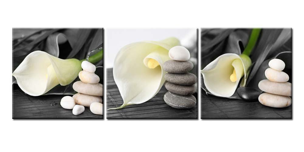 Canvas Print Wall Art Painting For Home Decor Still Life Of White Calla Lily With Gray Spa Pebbles Zen Stones On Black Background Callalily 3 Pieces Panel Paintings Modern Giclee Stretched And Framed Artwork The Picture For Living Room Decoration Flower P