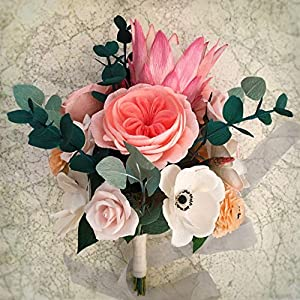 Bridal bouquet crepe paper flower-king protea wedding flowers bouquet 110