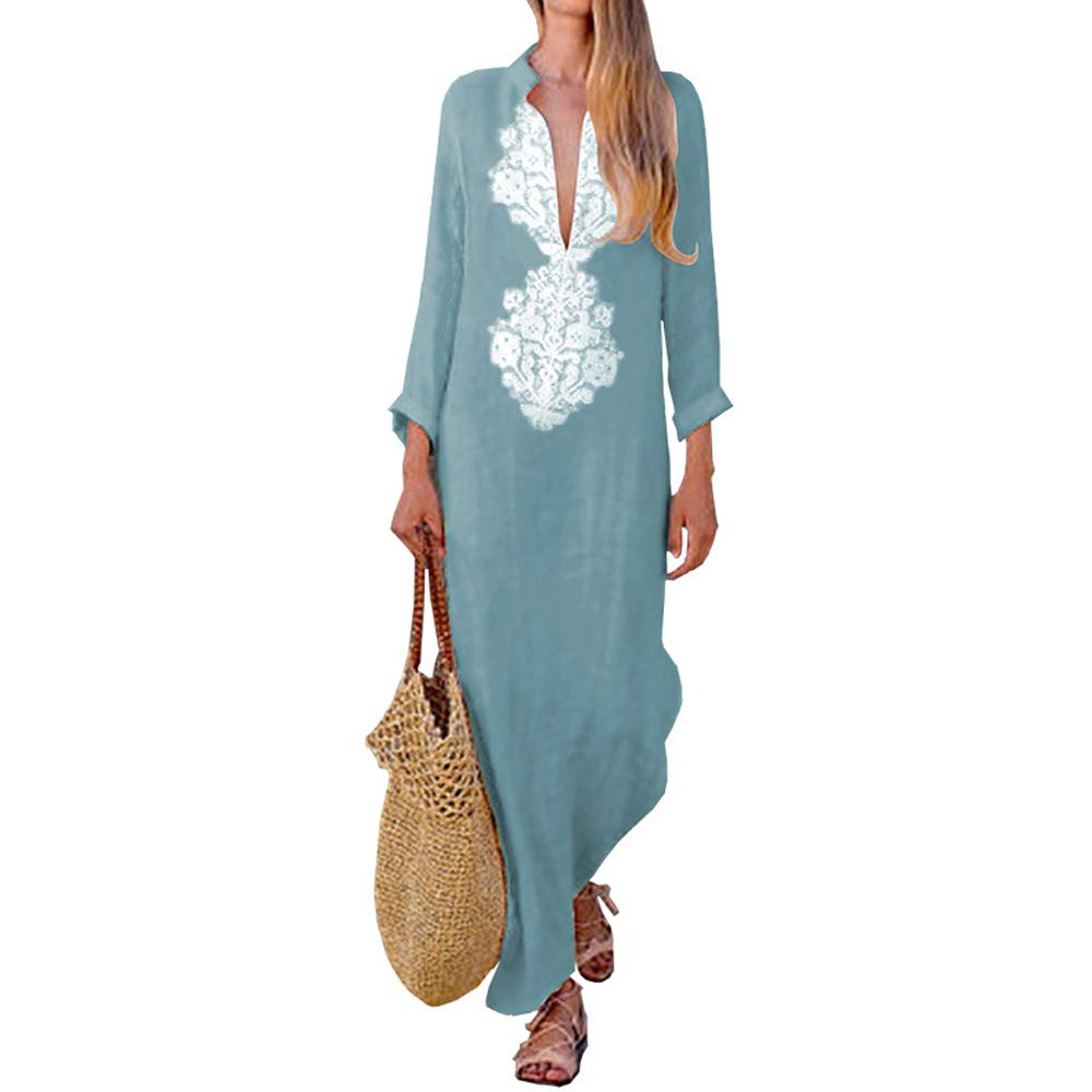 ilovgirl Women Printed Cotton Linen Loose Boho Long Kaftan Dress Plus Size