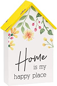 House Shaped Mini Wood Block Sign (Home is My Happy Place)