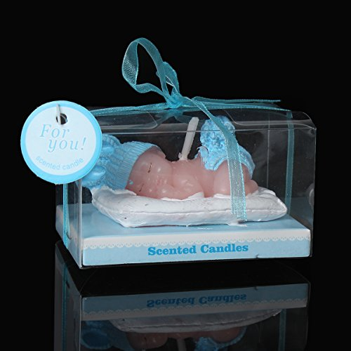 1 Pc Baby Boy Blue Baby Shower Votive Candle Favors 9cm