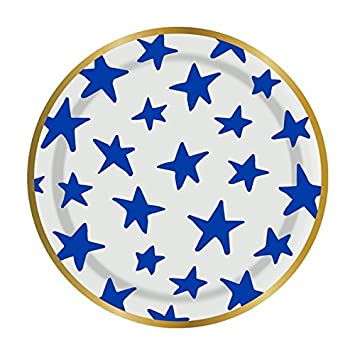 Slant Blue Stars Mini 5u0026quot; Snack Paper Plates  sc 1 st  Amazon.com & Amazon.com: Slant Blue Stars Mini 5