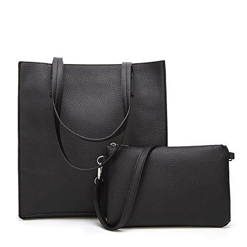 Yousu Women's fashion PU Leather Tote Handbags Top-handle Shoulder Bag 2 psc Purse Set