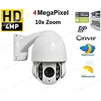 DiySecurityCameraworld, 10x Optical Zoom, AutoFocus, 4.0 MP, Metal, Outdoor, High Speed Dome Camera with Nightvision, Onvif, QNAP, Blueiris Compatible, White
