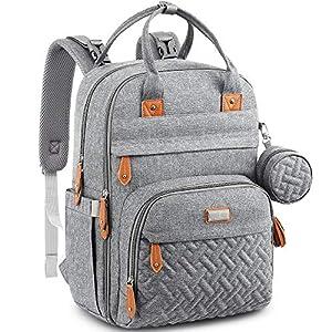 Baby Changing Bag Backpack, BabbleRoo Nappy Changing Back Pack Diaper Bags with Changing Mat & Pacifier Holder for Mom…