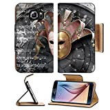 MSD Premium Samsung Galaxy S6 Edge Flip Pu Leather Wallet Case IMAGE ID: 4351527 Venetian Mask composition