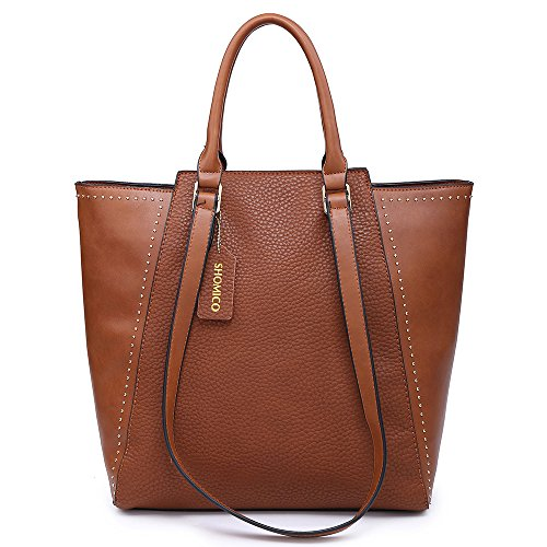 Shomico Womens Tote Bags Shoulder Handbag For Women Fashion Hobo Purse (Large, Brown) by Shomico