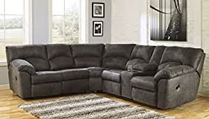 Ashley Tambo 27801-48-49 Sectional Sofa with Left and Right Arm Reclining Loveseats Storage Console 2 Cup Holders and Divided Back Cushion in