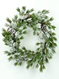 24'' Northstar Wreath with ICY Snow Pine Branches and Pinecones