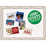 Amanti Art Framed Christmas Card Cork Board, Alexandria White Wash: Outer Size 32 x 24'' Whitewash