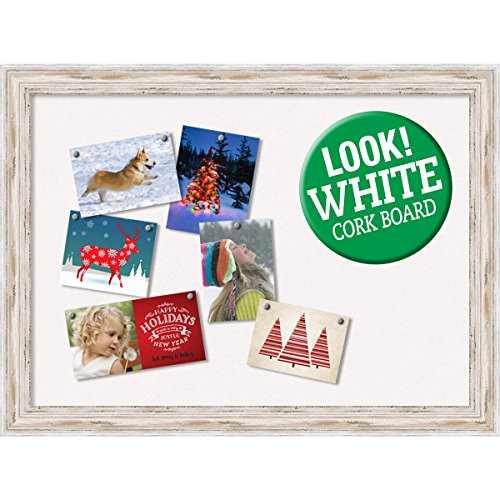 Amanti Art Framed Christmas Card Cork Board, Alexandria White Wash: Outer Size 32 x 24'' Whitewash by Amanti Art